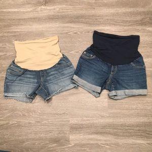 Bundle of 2 Indigo Blue Maternity Shorts